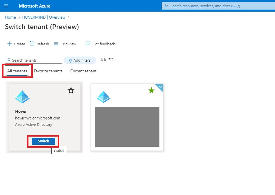 Switch Azure AD tenant and create user Step 2